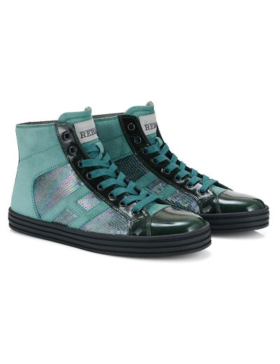 #HOGANREBEL R141High-Top #sneaker in #suede and patent #leather panels with embroidered sequins. Discover how to add a touch of #glamor to your look  with #green hoganrebel.com/women