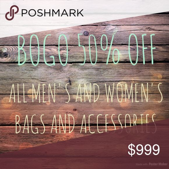 🎉TODAY ONLY🎉 BOGO 50% OFF BAGS AND ACCESSORIES All men's and women's bags and accessories are BOGO half off today only! Just let me know what you are interested in and I can make a custom bundle reflecting the discounted price or make your own bundle and offer sale price! * higher priced item is full price kate spade Accessories
