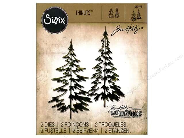 """Sizzix Thinlits Dies Woodlands by Tim Holtz includes 2 dies, each a different """"sketch"""" of an evergreen tree. Both trees measure about 4 1/4 inch tall. Sizzix Dies help eliminate all that tedious and time consuming hand cutting. Great for a single sheet of cardstock, paper, metallic foil or vellum. Compatible with the BIGkick, Vagabond and Big Shot cutting machines. 2 pc."""
