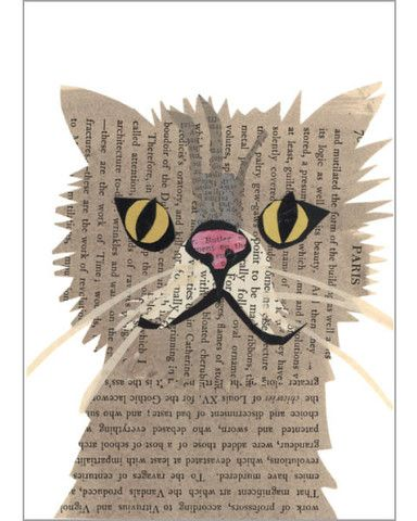 persian cat original paste art collage piece on 100% cotton board by denise fiedler