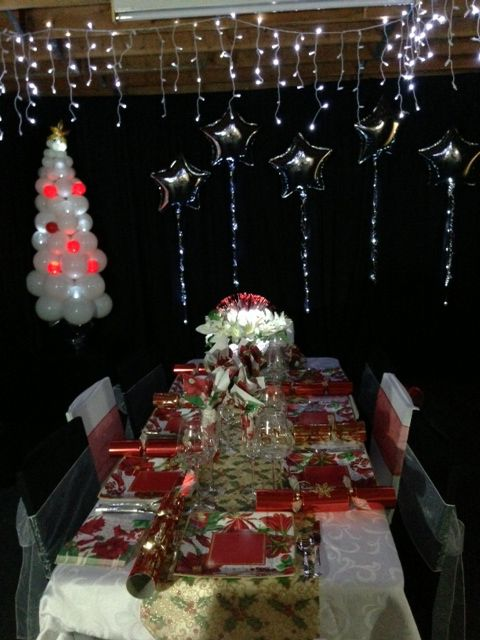 Our Christmas table setting for 2012. We set up in the warehouse it was so nice and cool with the air conditioning on full we were able to make our own winter wonderland. Even in the Australian hot summer.