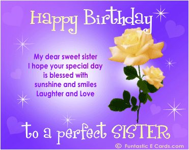 Birthday Wish for Sister Poem | Sister birthday cards pic of yellow roses, twinkly stars & poetic msg