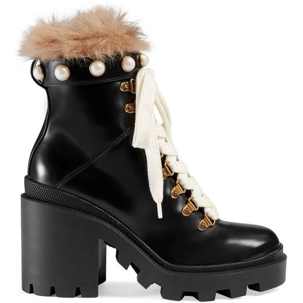 Gucci Leather Ankle Boot With Fur ($1,490) ❤ liked on Polyvore featuring shoes, boots, ankle booties, black, black leather bootie, black studded booties, black bootie, platform booties and leather booties