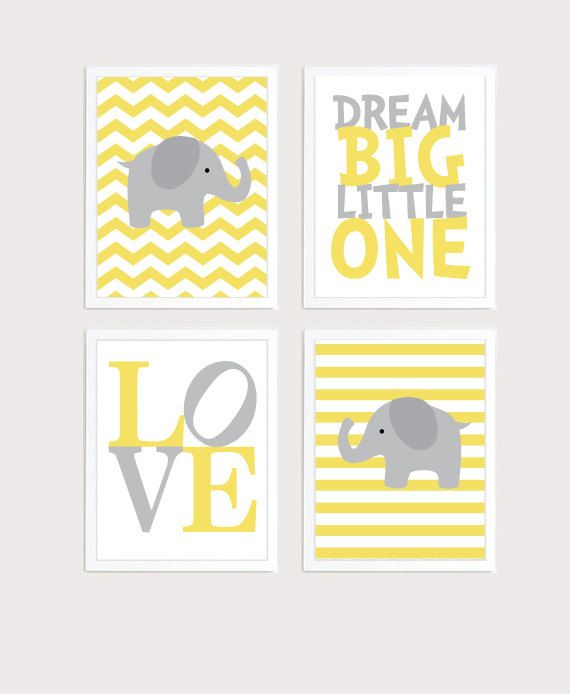 Baby Boy Nursery Art Chevron Elephant Nursery Prints, Yellow  and gray Baby Nursery Decor Playroom Rules Quote Art,  Kids Wall Art Baby Boys Room,