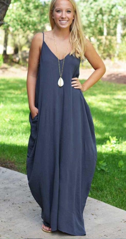 Navy Blue Cami Loose Maxi Dress