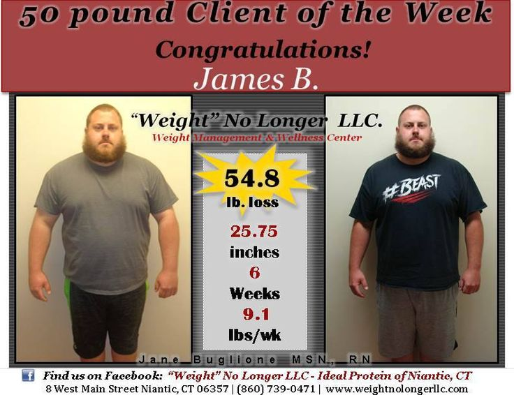 Congratulations to our #50Pound Client of the Week: James B. Thank you for allowing us to share your incredible results!! You look amazing, keep up the great work!! #50PoundsLost #AndThenSome #StillGoing #9lbAveragePerWeek #YouCanDoItToo #Healthy #WeightLoss #Success #IdealProtein #WeightNoLongerLLC