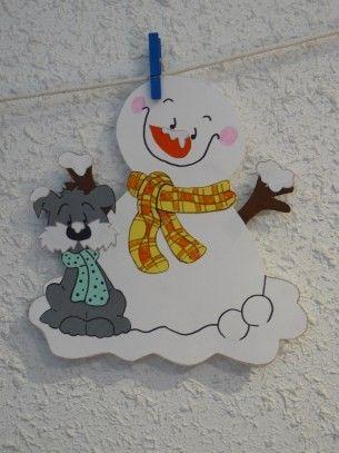 Le bonhomme de neige avec son chien