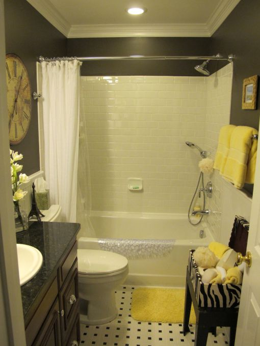 New small full bath, We converted an open loft area into a bedroom and bathroom. Contractors framed and installed the in-wall plumbing/electrical and we did the rest. Paint is Valspar Italian Leather., Bathrooms Design