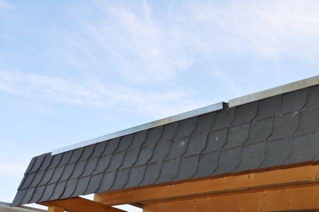 Blende als Abschluss - Schiefer fürs Carport-Dach