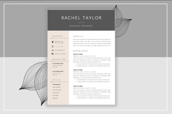 Resume Template & Cover Letter ~ Resume Templates on Creative Market
