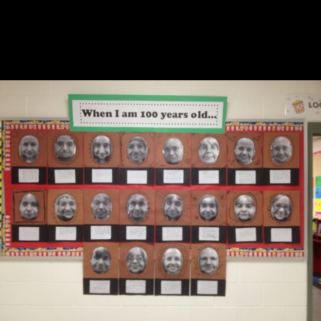 """I just downloaded this app...pretty cool!  100th day of school...1st use """"aging booth app"""" to age the students to 100 years old. 2nd print full page picture in black and white. 3rd cut ovals to make frames and attach white notebook paper at the bottom to write about their life after a 100 years, describe themselves at 100 etc."""