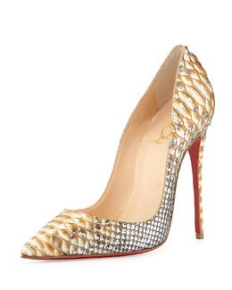 S09Z7 Christian Louboutin So Kate Python Red Sole Pump, Gold