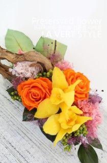 Preserved flower arrangement.