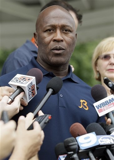 Chicago Bears head coach Lovie Smith speaks at a news conference at NFL football training camp at Olivet Nazarene University in Bourbonnais, Ill., Tuesday, July 24, 2012. (AP Photo/Nam Y. Huh)