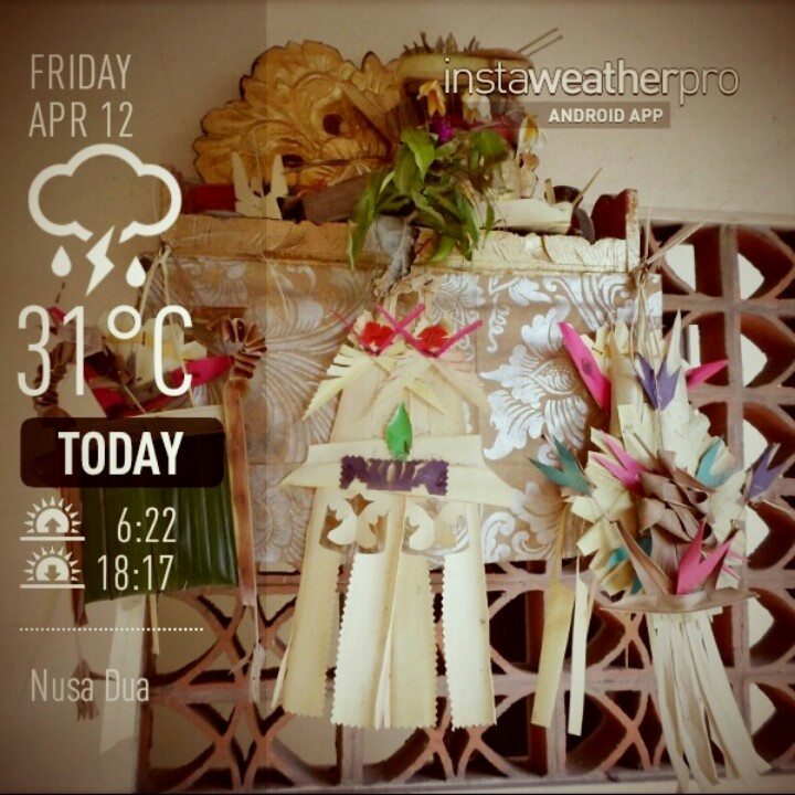 #Bali #weather April 12, 2013 Balinese daily offering shrine www.samabe.com