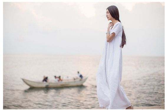 White Beach Dress Summer Holiday Trip Maxi Linen by camelliatune