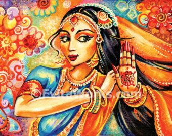 feminine beauty bollywood dance Indian decor by EvitaWorks on Etsy