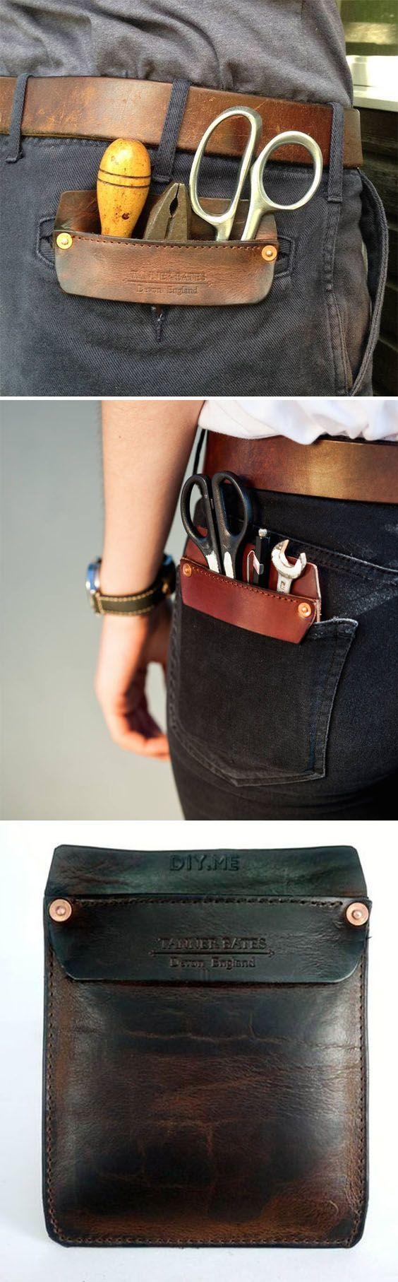 Funda de cuero porta herramientas de trabajo para proteger el bolsillo de los pantalones. // Handmade Leather Pocket