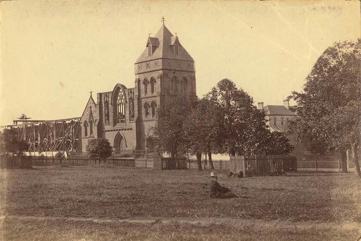 Former St Mary's Cathedral in Sydney in 1870 (after the fire of 1865). •State Library of NSW•