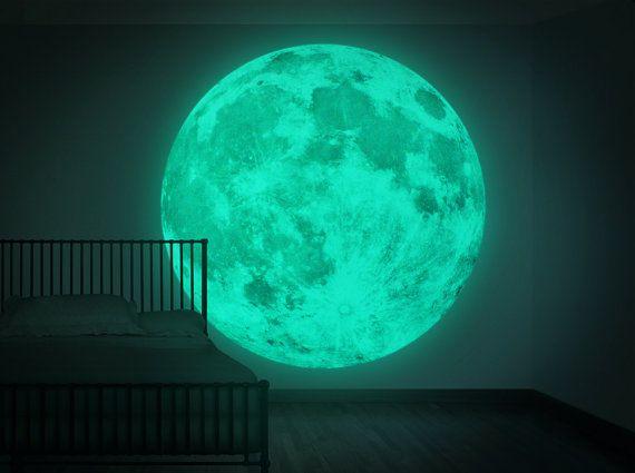 XXL - Moonlight pared pegatina, Clair De Lune luz nocturna ( resplandor en la pared sticker-180cm/71inch luna oscura )