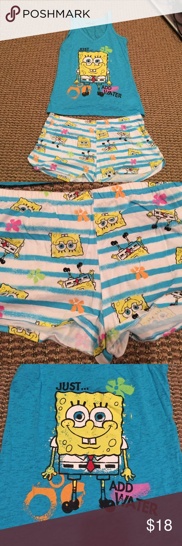 SpongeBob pajama set Super comfy and cute! I have only worn a couple times! The bottoms are a large! And the top is a medium! Nickelodeon Intimates & Sleepwear Pajamas
