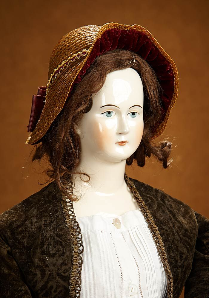 Bittersweet - October 28-29, 2017 in Scottsdale, Arizona: 35 Early 19th Century Grand Porcelain Doll with Rare Painted Brown Hair