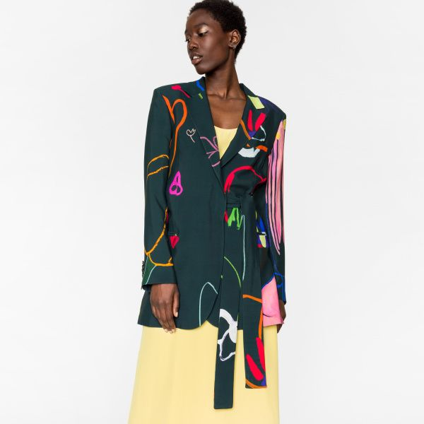 Paul Smith Women's 'Crayon Floral' One-Button Blazer With Belt