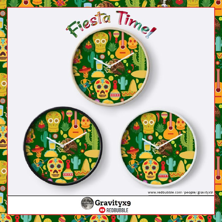 Fiesta Time! Mexican Icons Wall Clocks by #Gravityx9 at #Redbubble ~ #VivaMexico! Fun illustrations of sombreros, tacos, calaveras, maracas and more! Choose frame and hand colors. This design is also available on tee shirts, coffee mugs, stickers and more! Click through to see the variety of products and gifts ~ #CincoDeMayo #Mexicantheme