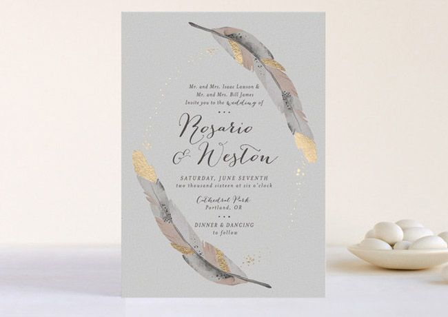 gold tip feather invitation from Minted