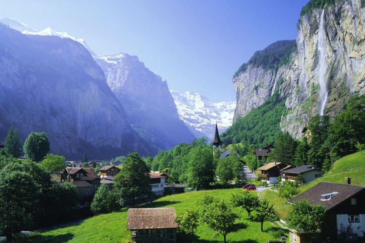 Lauterbrunnen and Staubbach Falls, Jungfrau Region, Swiss Alps, Switzerland, Europe Photographic Print