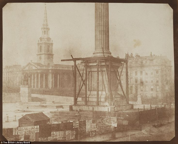 It's one of the most famous landmarks in the UK - and this unique shot shows Nelson's Column under construction in April 1844.