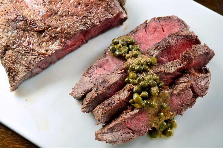 Recipe for Flat Iron Steak with Dijon Caper Sauce at Life's Ambrosia