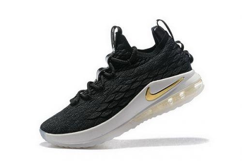 f544512dd10 Popular Nike LeBron 15 Low Black Metallic Gold-Phantom Mens Basketball Shoes