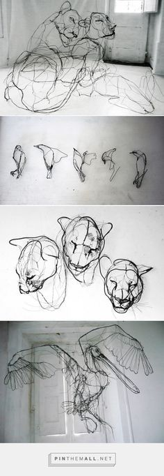Wire Animal Sculptures that Look Like Scribbled Pencil Drawings by David…