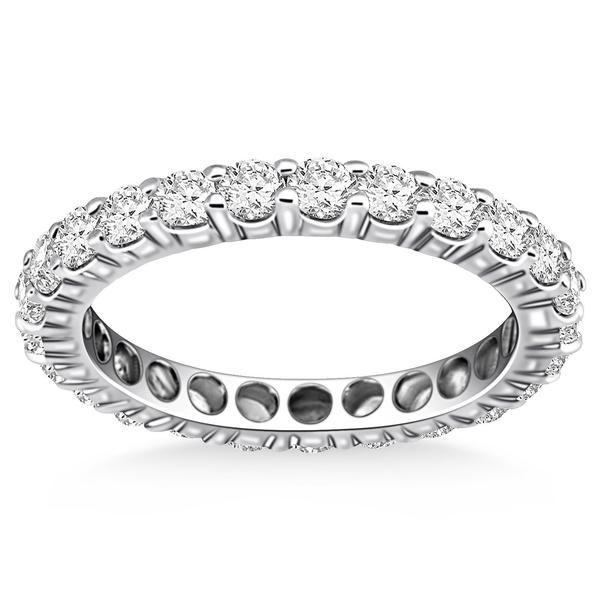 14K White Gold Ageless Round Cut Diamond Eternity Ring