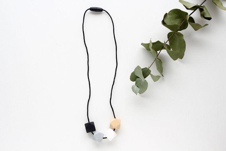 Silicone Teething Necklace Breastfeeding Nursing Necklace   White, Grey, Wood and Black