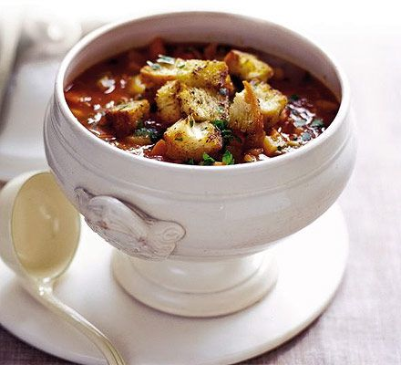Keep the winter out and warmth in with nutritious minestrone and pesto croûtes