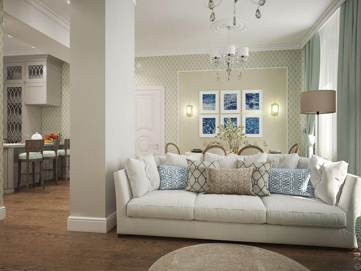 Светлый диван для всей семьи. Гамма - прохладная нежная зелень.