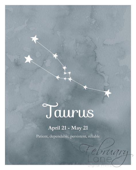 Arte de pared de constelación Tauro zodiaco imprimible 8 x 10