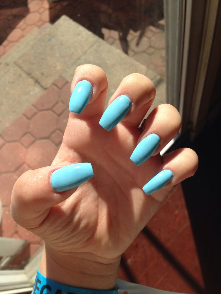 Light Blue Coffin Nails Nails Pinterest Follow Me What You See And Blue Nails Art