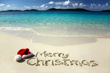 Tropical Christmas - red, sunshine, merry christmas, sunny, tropical, nature, party, beach, snow, blue, sea, forever