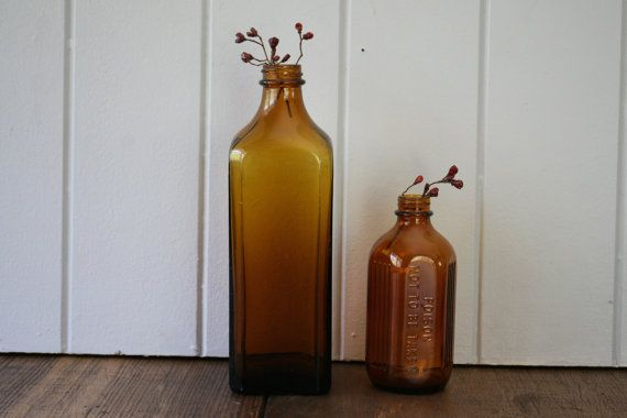 Brown Amber Glass Bottles Medical Pharmaceutical by FoundByHer