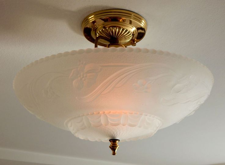 Center Post War Era Ceiling Light, Vintage Glass Shade, New Custom Fixture  $182.99 with free shipping