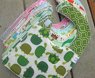 cute stack of bibs. I need to get busy making some more.