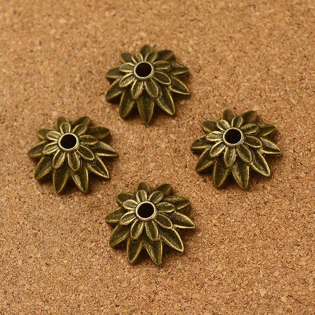Винтажный 90 шт антикварный бронза цветок бусины кепка подвески своими руками ювелирные изделия выводы 3 мм hola диам.