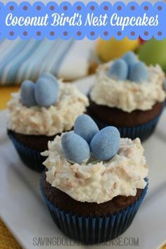 Try these adorable Coconut Bird's Nest Cupcakes for a fun treat that looks great!