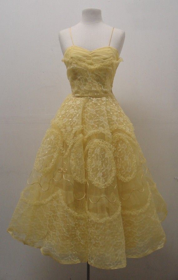 Vintage 1950s yellow tulle gown by MintageClothingCo on Etsy