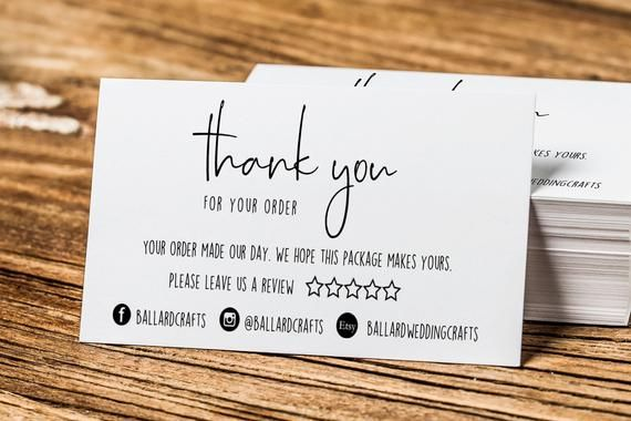 Monochrome Thank You For Your Order Cards Please Leave A Review Card Business Stationery Business Thank You Cards Business Stationery Thank You Card Design