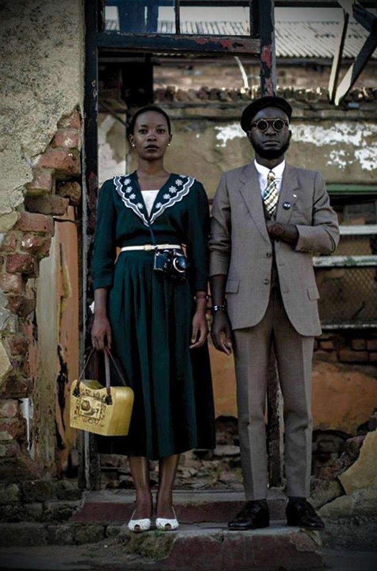 Khumbula fashionistas by Andile Biyana, Bafana Mthembu aka The Queen of Spades, David Maledimo, and photographer Harness Hamese with Loux The Vintage Guru - South African Fashion.