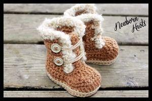 #crochet baby booties pattern sold by Newborn Knots